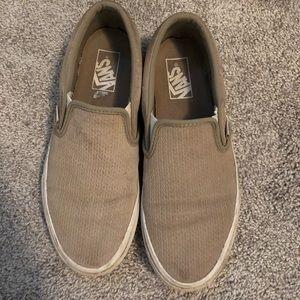 Tan Woven Slip on Vans